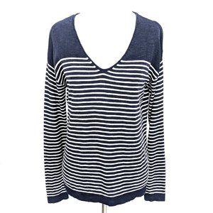 Gap V-neck Navy/White Stripe Cotton Knit Sweater